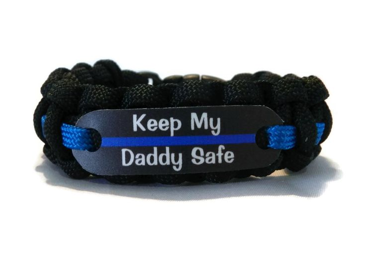 Keep my Daddy Safe Thin Blue Line Bracelet for Police Officers Kids - Just for Kids -