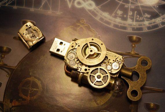 Steampunk USB 32 Gb Flash drive por Cyberart en Etsy