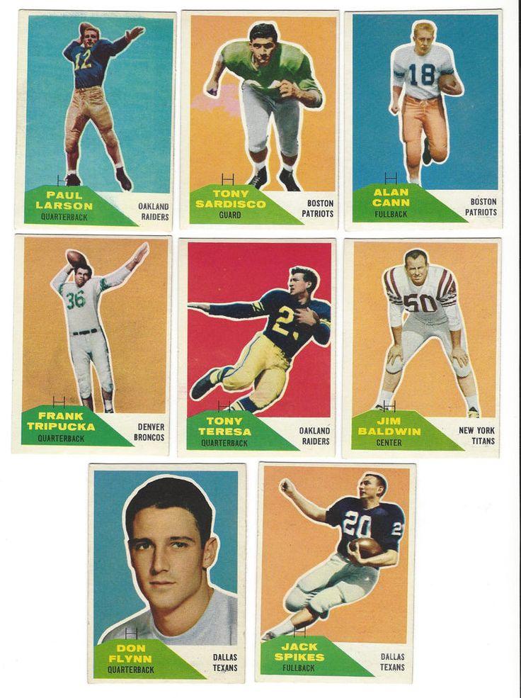 1960 Fleer Football lot (8) Raiders, Patriots, Broncos (6) are Rookie Card)