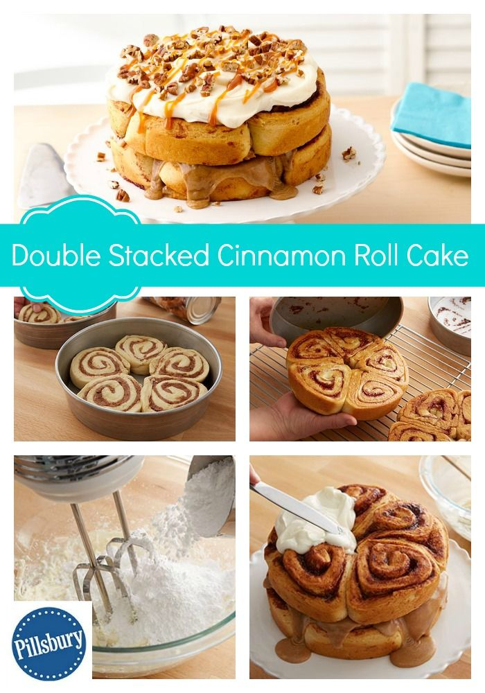 Layers of cinnamon rolls, cream cheese frosting and caramel make a brunch-worthy cake! This Double Stacked Cinnamon Roll Cake is simple - just follow these easy steps!