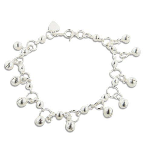 "Dangling Bells Sterling Silver 7"" Jingle Bell Bracelet Silver Insanity. $49.98. 11 Tinkling Bells. Weight is 9.8 Grams. Marked 925. 7"" Long. Spring Ring Clasp"