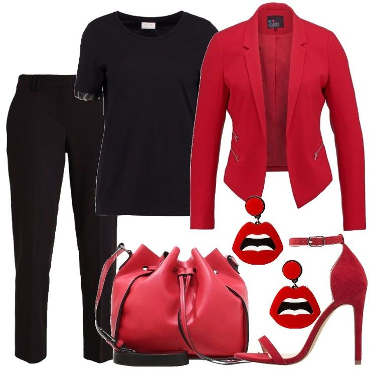 I+pantaloni+sono+neri+con+tasche+laterali+,+la+t-shirt,+in+cotone,+è+sempre+nera,+con+volant+di+tulle+sulle+mezze+maniche.+Il+blazer+è+rosso+con+tre+tasche+laterali+chiuse+con+le+cerniere.+I+sandali+sono+rossi,+in+finta+pelle+scamosciata+e+con+tacco+a+spillo.+La+borsa+a+secchiello+è+rossa,+in+finta+pelle+e+gli+orecchini,+in+metallo+e+plastica+rappresentano+una+bocca+rossa.
