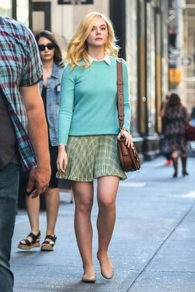Elle Fanning is seen on the set of the new Woody Allen movie on September 11, 2017 in New York City.