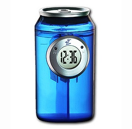 Water powered can clock uses the latest long life H2O technology to power the clear LCD display.    Simply add water to the body of the can to activate it and enjoy free energy to clearly see the time. Add water when required, typically every 6 to 12 months. Features include large hi contrast display all housed in a stylish transparent can. £10.25