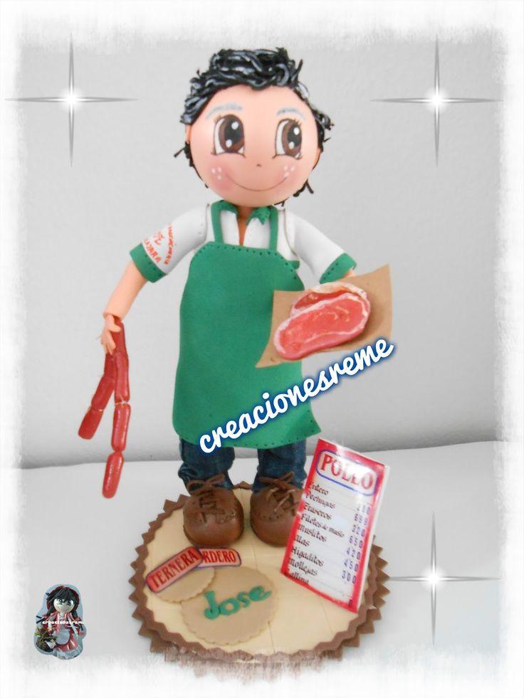muñeca-goma-eva-personalizadas Muñequitas fofuchas de goma eva Creacionesreme #fofuchocarnicero  adornos fofuchas filete miniatura y chorizo