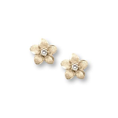BeadifulBABY :: Girls Elegant Flower Girl Keepsakes™ - .04 ct. tw. Diamond 14K Yellow Gold Screw Back Diamond Flower Earrings for Babies & Toddlers - Safety threaded screw back post