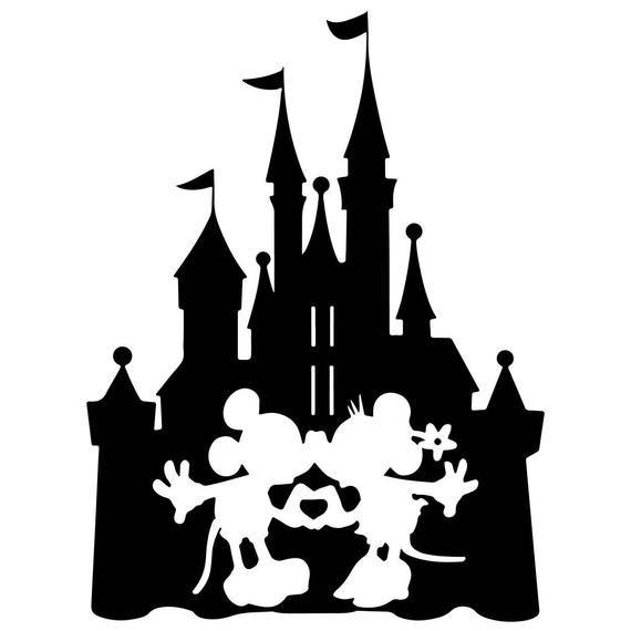 Disney Inspired Castle Kissing Mickey And Minnie Waterproof Etsy Disney Stencils Disney Castle Silhouette Disney Silhouettes