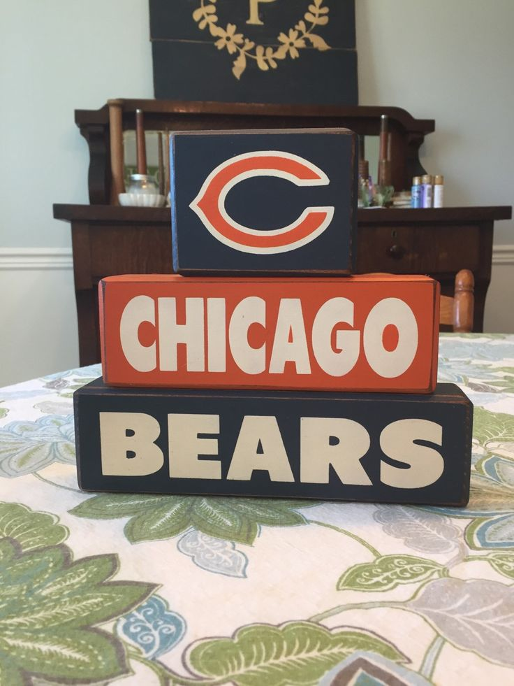 Chicago bears wood sign blocks distressed football home decor fathers day gift for him man cave super bowl sports room custom wood blocks by AppleJackDesign on Etsy https://www.etsy.com/listing/249282260/chicago-bears-wood-sign-blocks