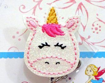 Unicornio carrete-Unicorn ID brillo insignia ID Badge retráctil divisa titular de la placa--enfermera unicornio insignia insignia carrete-Unicorn ID titular (juego 1)