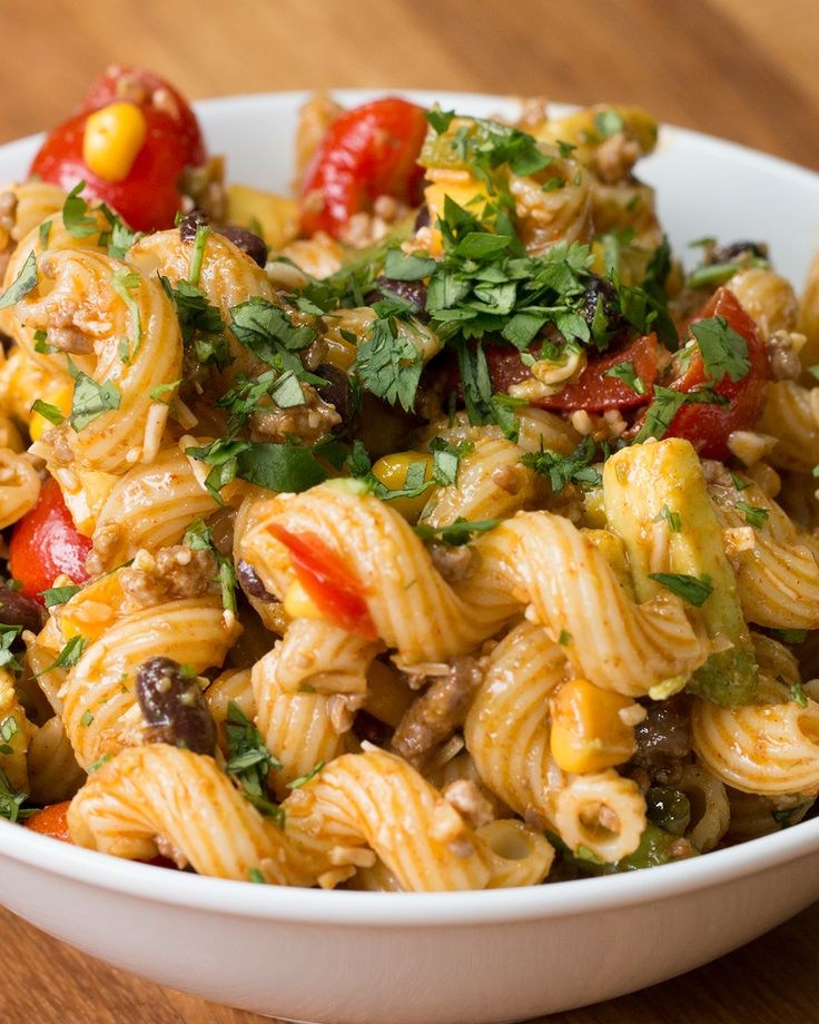 Includes Italian pasta salad - without just using Italian dressing! Also has taco pasta salad (pictured), a peanuty asian pasta salad, and one I can't remember...
