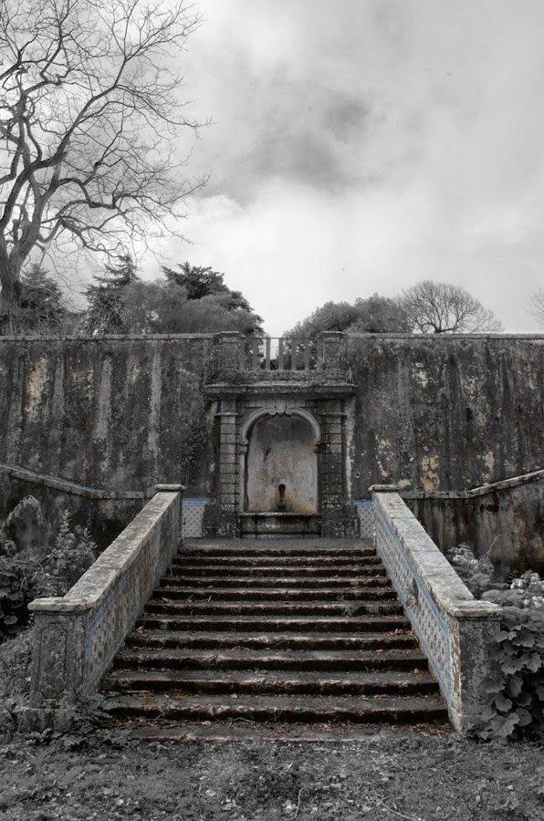 Quinta do Marques de Pombal, Oeiras, Portugal. A rare example of Baroque architecture in Portugal, the house and extensive gardens are now a part of the Ministry of Agriculture but it has been badly neglected and ruined. Stairway to gardens.