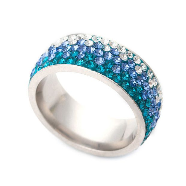 Beautiful different Color Line Crystal Fashion Jewelry Ring Wholesale Fashion Stainless Steel Ring for women