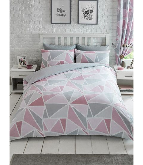 Metro Geometric Triangle Single Duvet Cover Set Pink Grey Duvet Cover Sets Grey Bedding Pink Duvet Cover