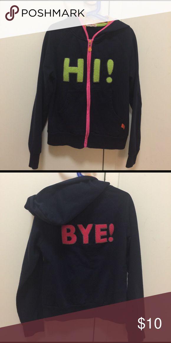 """Little Miss Matched Hoodie Sweatshirt Navy, green, orange and pink zipper """"hi"""" and """"bye"""" hoodie sweatshirt Little Miss Matched Shirts & Tops Sweatshirts & Hoodies"""