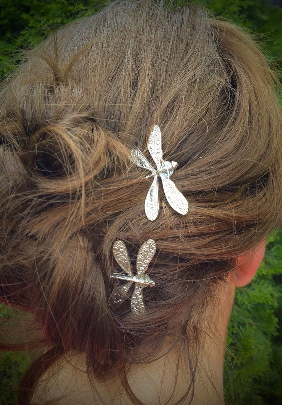 Dragonfly Bobby Pins Set of Two Antique Silver Nickel by glamMKE, $10.00