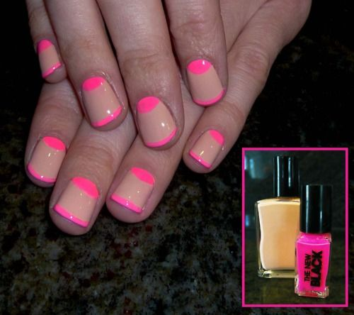 Nude & Neon. ALL over this.: Nails Art, Nails Design, Pink Nails, Hot Pink, Nails Polish, Neon Nails, Nudes Nails, Half Moon, Neon Pink