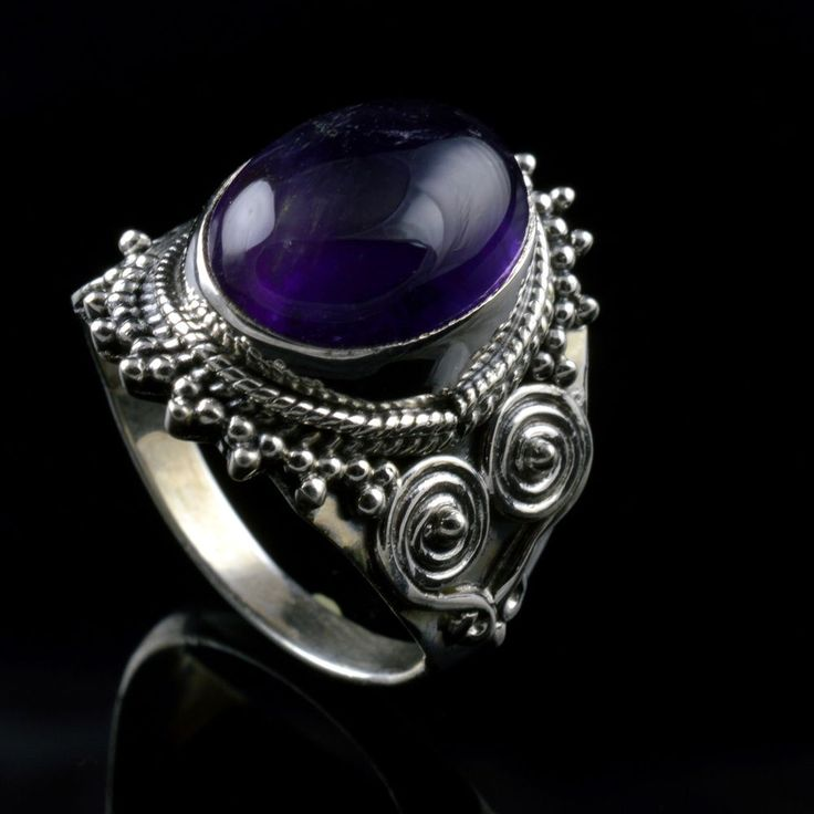 925 Sterling Silver Natural Amethyst Gemstone Handmade Mens Ring Size 10.75 US #Handmade #Cluster #Party