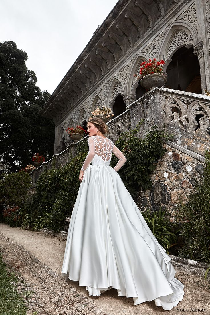 Long sleeve ball gown wedding dresses  Solo Merav  Wedding Dresses u ucGames of Laceud Bridal Collection