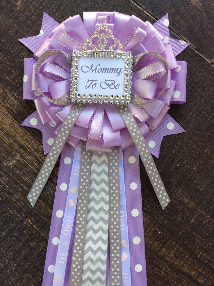 Little Princess Baby Shower Mommy To Be Pin   Little Princess Corsage   Lavender And Gray