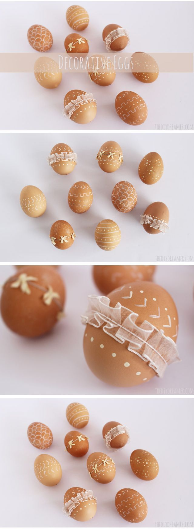 Decorative Eggs. Trendy Easter Eggs decorated with paint and ribbon. Perfect decorative Easter eggs for a Rustic Easter. Such a fun DIY craft! #easter #eastereggs #eastercrafts #rustic