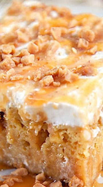 Caramel Apple Pie Poke Cake Recipe - apple cake soaked in caramel sauce topped with cool whip and toffee bits - AMAZING!
