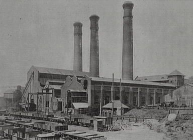 1919 Pyrmont Power Station with trains in foreground: Helen
