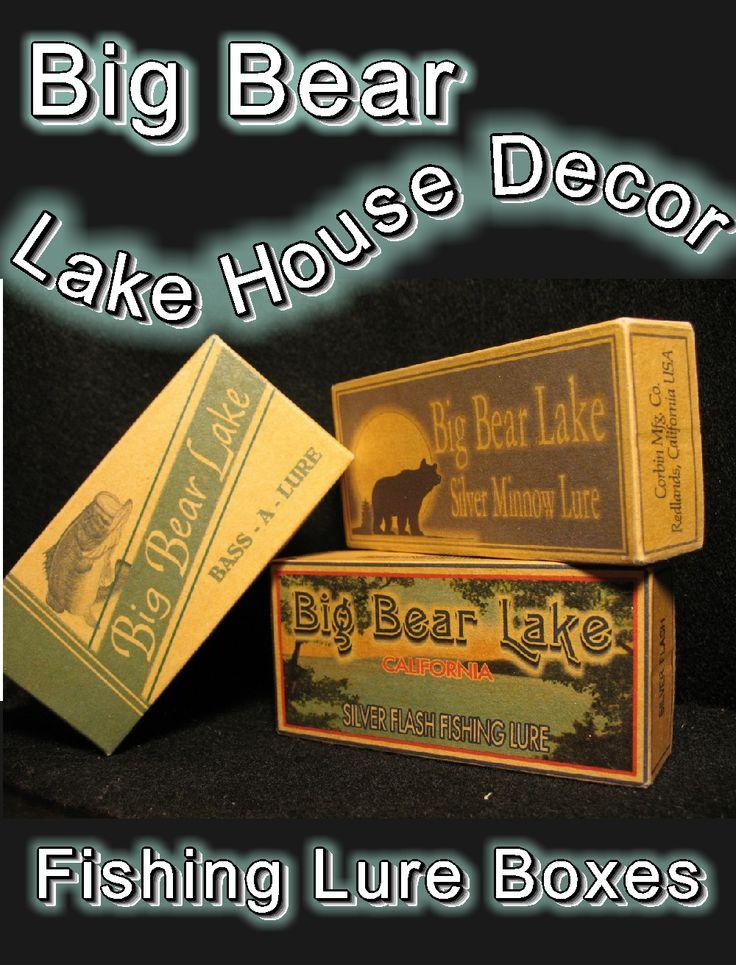 Big Bear Lake California Fishing lake house decor cabin trout michigan minnesota gift lure boxes