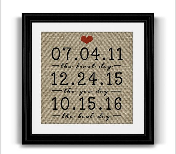Unique Anniversary Gift | The Best Day Engagement Gift | FRAMED Important Dates | Personalized Wedding Gift | Husband Gift | Fiance Gift  A unique