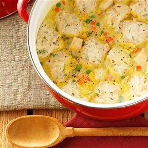 Quicker Chicken and Dumplings Recipe -Ready in 30 minutes, this easy chicken and dumplings recipe takes advantage of convenience items and uses time-saving, drop-style dumplings. —Willie DeWaard, Coralville, Iowa