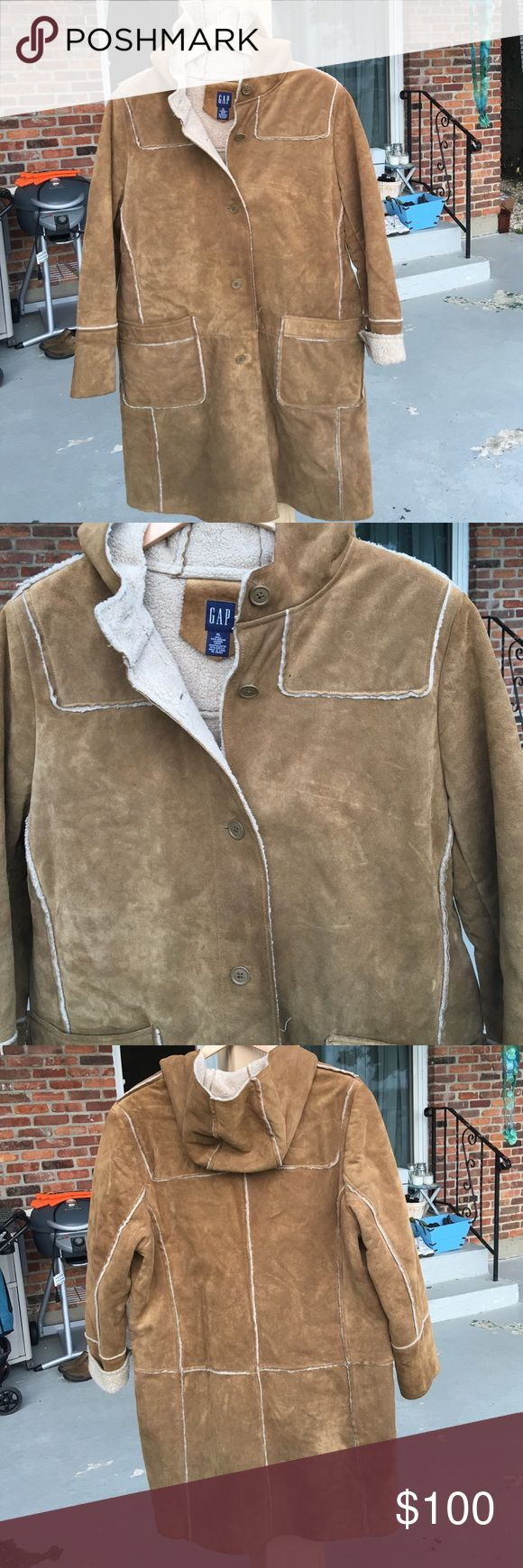 GAP coat XL worn few times. 100% leather, suede shearling look. She'll is 100%leather and lining is 53% polyester 47% Acrylic. Worn but in great condition. GAP Jackets & Coats