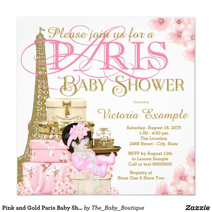 Pink And Gold Paris Baby Shower Card