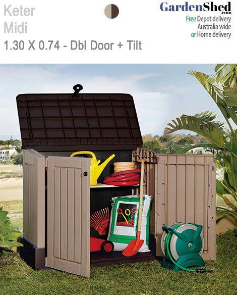 Keter Garden Shed  • 2 year warranty.  Maintenance Free – Too Easy!    BrandKeter  ModelSIO-MIDI  Size1.30m(w) x 0.74m(d) x 1.10m(h)  ColoursBeige Brown            Width1.30m  Depth0.74m  Height1.10m  Door TypeDouble Doors, Tilt Door  Roof TypeSkillion (slant)  DoorsHinged  Warranty2 Years