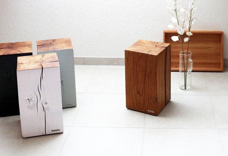 Hol dir pure Natur in deine Wohnung - Baumstammhocker aus massivem Eichenholz, Varianten Seitenflächen seidenmatt lackiert oder natur geölt