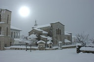 Εκκλησία -Χιόνι-Ηλιοβασίλεμα