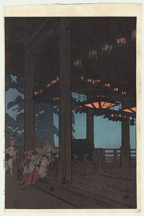 Hiroshi Yoshida (1876 - 1950) Japanese Woodblock Print Nigatsudo Hall at Todai-ji Temple, 1926