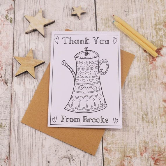 Teapot Colouring in Thank You Card Children's by MakeWithMum