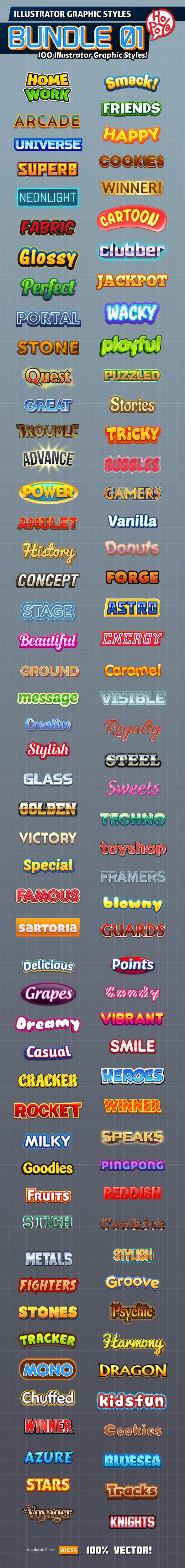 100 Illustrator Graphic Styles Bundle for Adobe Illustrator #design #ai Download: http://graphicriver.net/item/100-illustrator-graphic-styles-bundle-01/10424817?ref=ksioks