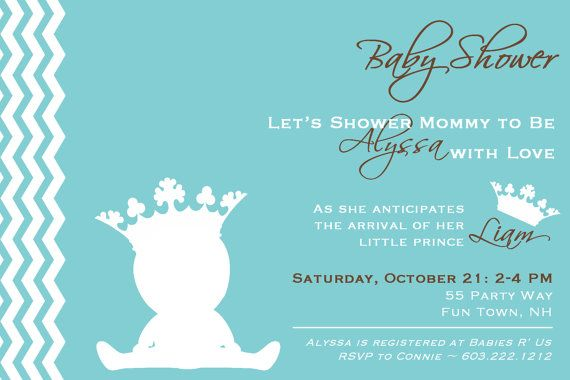 prince baby shower invitation chevron teal gray prince baby shower