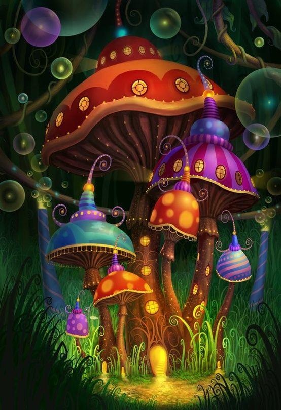 illustration, landscape, woodland, mushroom house, lighting fern. frame, pattern. groovy....