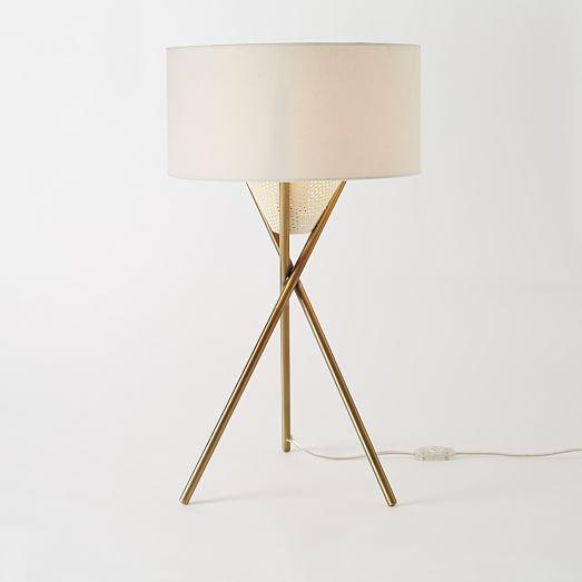 Mid-Century Tripod Table Lamp - Antique Brass   west elm