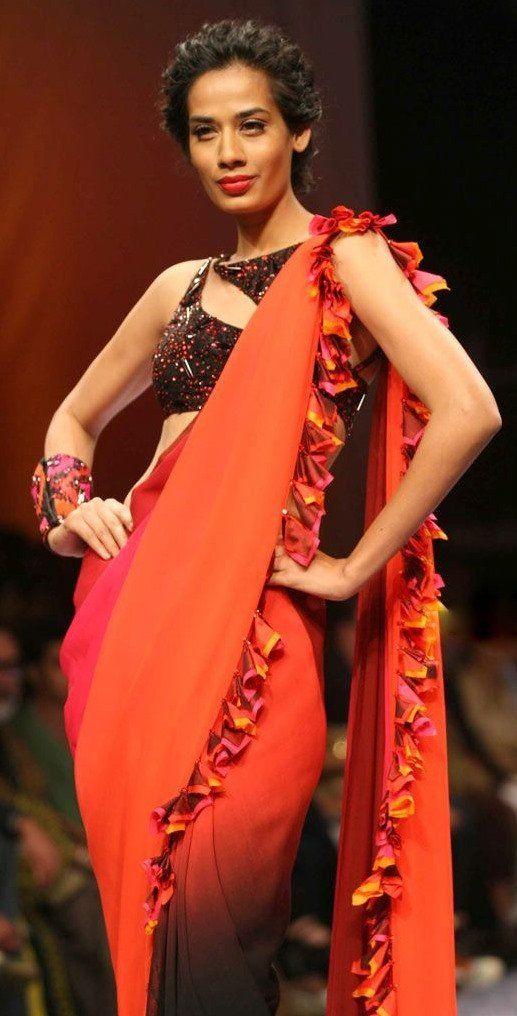 nachike Barve   my fav saree blouse design from Fall 2011 Lakme fashion week.    saree blouse design designer saree