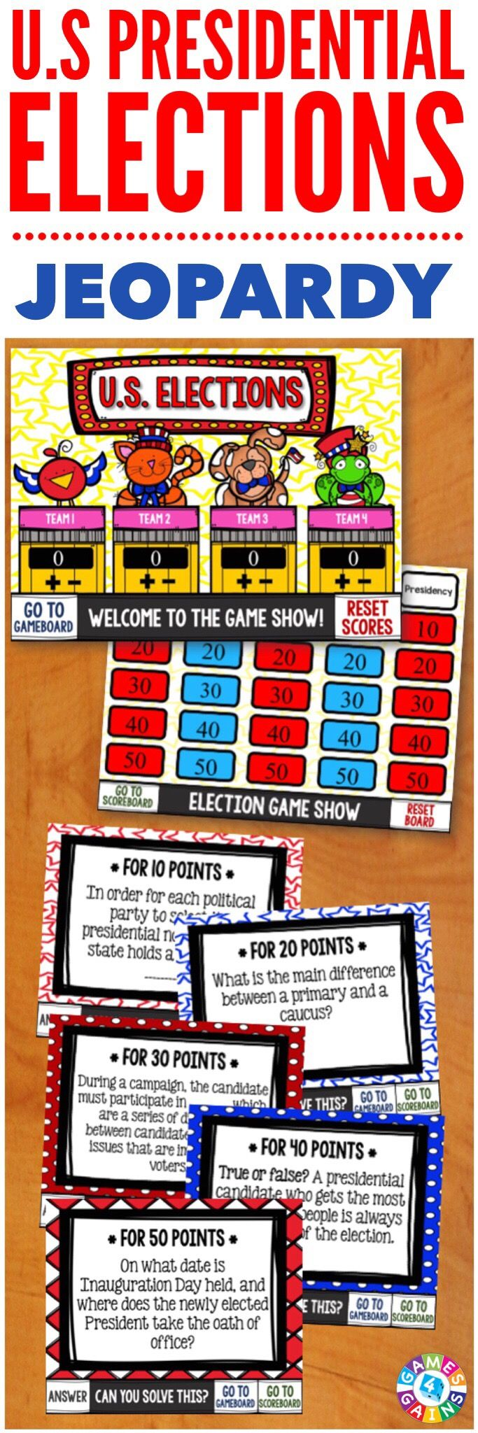 This U.S. Presidential Elections game is the PERFECT way to review the key components of the election process that I've been teaching my students!  This Jeopardy-style game includes 25 questions about presidential eligibility, the primaries & caucuses, the conventions, voting in the general election, and more!