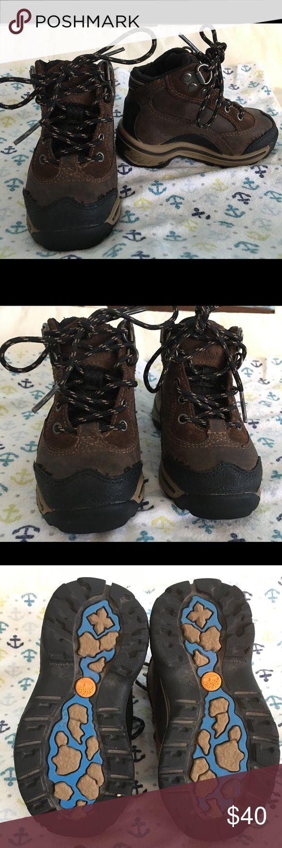 Timberland Waterproof Hiking Boots for Toddler Very gently used Timberland Waterproof Hiking Boots for Toddler. Used a total of three times. Have so much life left in them. Like new! They are waterproof BUT these were never in any water. Timberland Shoes Boots