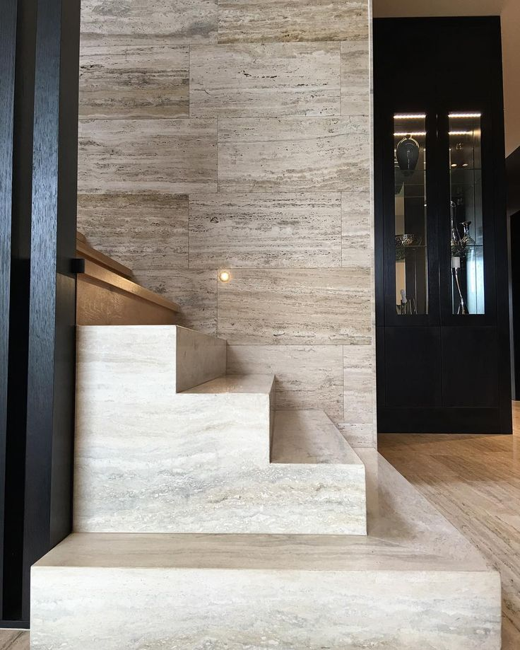"176 Likes, 4 Comments - CDK Stone (@cdkstone) on Instagram: ""Stunning stairway and wall in vein cut silver travertine . The natural stone sits perfectly with…"""
