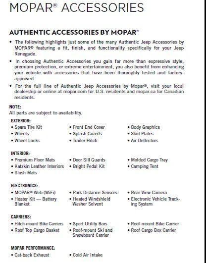 Lista accessori Mopar USA