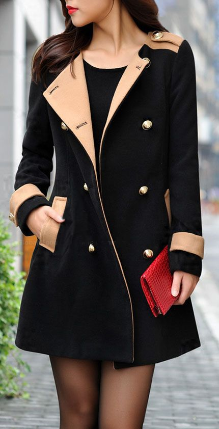 20% OFF for Modern Style Color Splicing Double Breasted Scoop Neck Long Sleeve Worsted Coat For Women