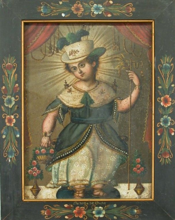 "Contributed photo ""El Santo Niño de Atocha,"" by unknown artist; late 19th century; retablo on tin with painted frame; 16.5"" x 12.625"""