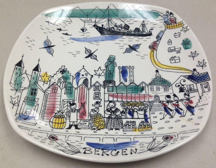 Bergen Sq Souvenir Plate Norway Ship Hand Painted Travel Stavanger Flint Silk