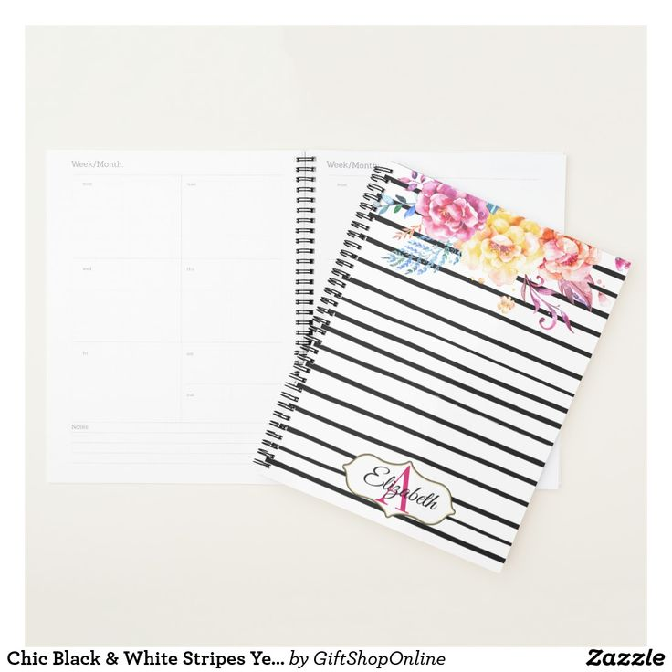 Chic Black & White Stripes Yellow Floral Monogram Planner