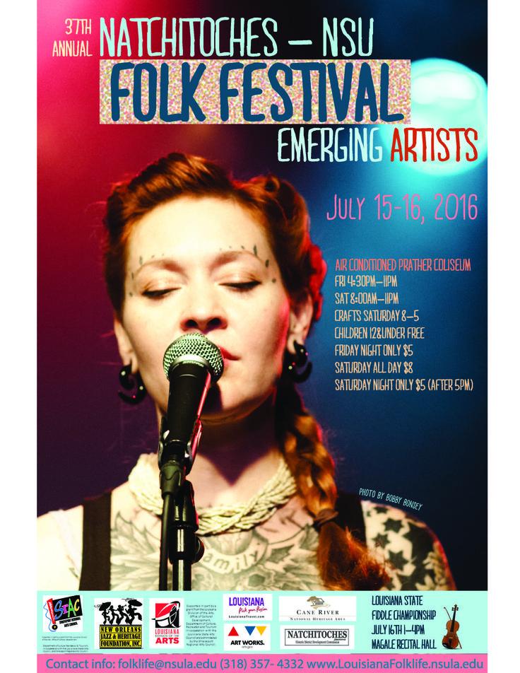 Check out our 2016 Natchitoches-NSU Folk Festival Poster!  Art work: Matt Deford Image: Meschiya Lake by Bobby Bonsey